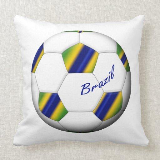Balón de FÚTBOL BRASIL con colores de la bandera Cojín