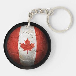 Balón de fútbol canadiense gastado de fútbol de ba llavero