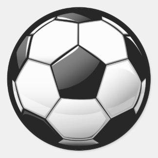 Balón de fútbol clásico brillante pegatina redonda