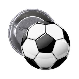 Balón de fútbol clásico brillante pin redondo 5 cm