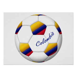 Balón de FÚTBOL COLOMBIA Bandera nacional Póster