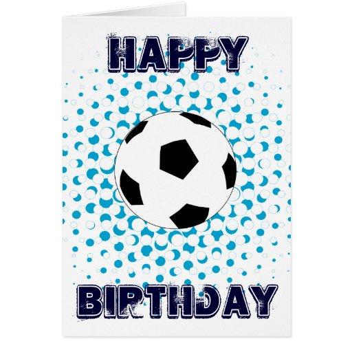 Balón de fútbol con colores azules, feliz cumpleañ tarjeta pequeña
