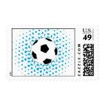 Balón de fútbol con colores azules sello