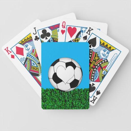 Balón de fútbol con el corazón customizeable cartas de juego