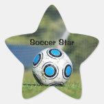 Balón de fútbol con meta pegatina forma de estrella personalizada