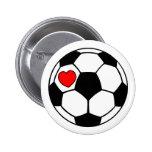 Balón de fútbol (corazón rojo) pins
