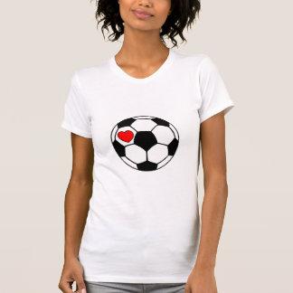 Balón de fútbol (corazón rojo) camisetas