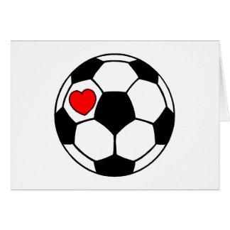 Balón de fútbol (corazón rojo) tarjeta