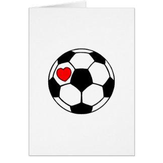 Balón de fútbol (corazón rojo) tarjeta de felicitación