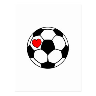 Balón de fútbol (corazón rojo) tarjetas postales