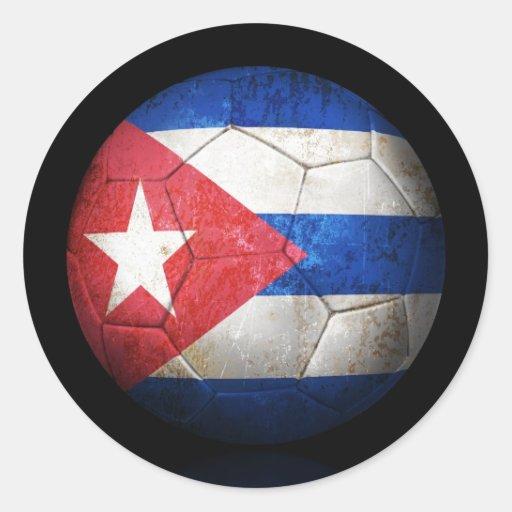 Balón de fútbol cubano gastado de fútbol de pegatina redonda