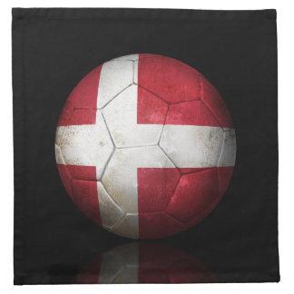 Balón de fútbol danés gastado de fútbol de bandera servilletas de papel
