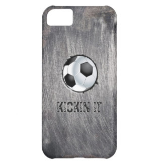 Balón de fútbol de acero del Grunge Kickin él caso Funda Para iPhone 5C