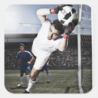 Balón de fútbol de cogida del portero del fútbol calcomanias cuadradas