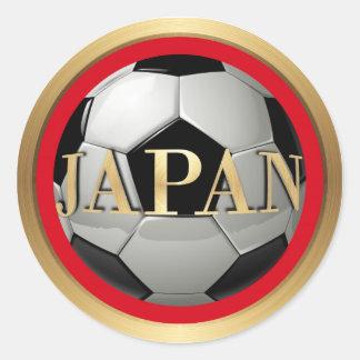 Balón de fútbol de Japón con el marco de oro Pegatina Redonda