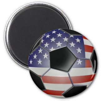 Balón de fútbol de la bandera de los E.E.U.U. Imán Redondo 5 Cm