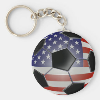 Balón de fútbol de la bandera de los E.E.U.U. Llavero Redondo Tipo Pin