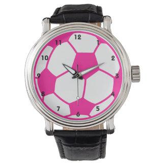 Balón de fútbol de las rosas fuertes relojes