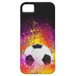 Balón de fútbol de neón con el fondo negro iPhone 5 funda