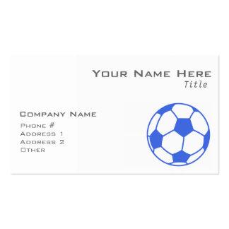 Balón de fútbol del azul real y del blanco tarjetas de visita