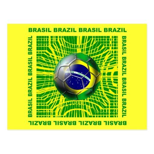 Balón de fútbol del Brasil el Brasil en los regalo Tarjeta Postal