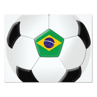 "Balón de fútbol del Brasil Invitación 4.25"" X 5.5"""