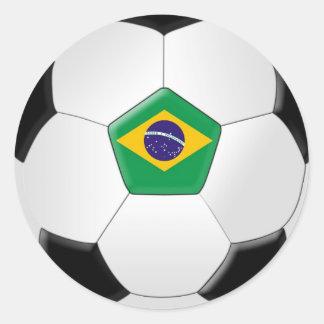 Balón de fútbol del Brasil Pegatina Redonda