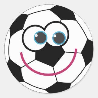 Balón de fútbol del dibujo animado etiqueta