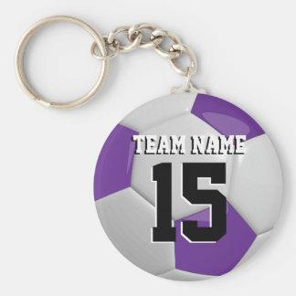 Balón de fútbol del equipo de la púrpura y del llavero redondo tipo pin