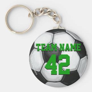 Balón de fútbol del nombre y del número del equipo llavero redondo tipo pin