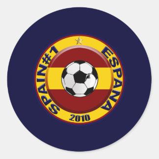 Balón de fútbol del número 1 del fútbol de España Pegatina Redonda