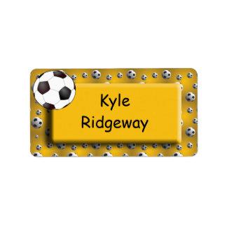 Balón de fútbol del oro - etiqueta del nombre de l etiquetas de dirección