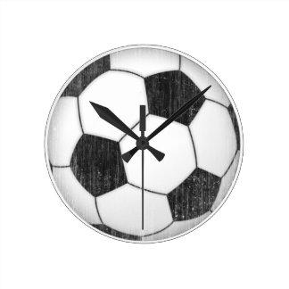 Balón de fútbol del vintage reloj redondo mediano