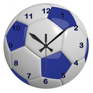 Balón de fútbol el   azul marino reloj redondo grande
