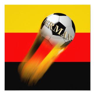 Balón de fútbol el flamear Alemania en bandera Invitación 13,3 Cm X 13,3cm