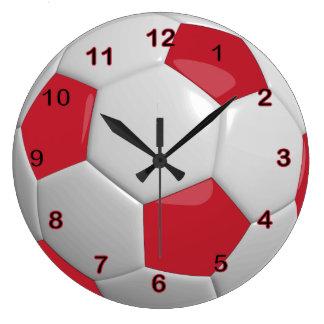 Balón de fútbol el   rojo oscuro reloj redondo grande