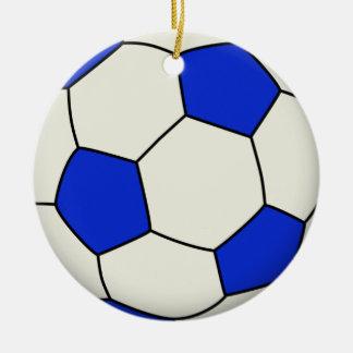 Balón de fútbol en azul adorno navideño redondo de cerámica