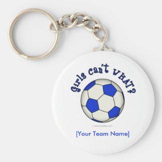 Balón de fútbol en azul llavero redondo tipo pin