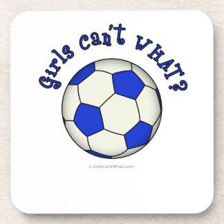 Balón de fútbol en azul posavasos de bebida