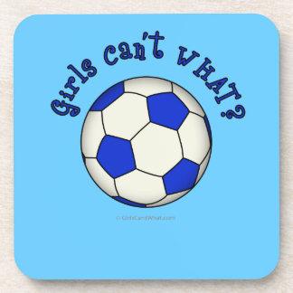 Balón de fútbol en azul posavasos de bebidas