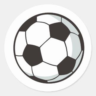 Balón de fútbol en estilo del dibujo animado etiqueta redonda