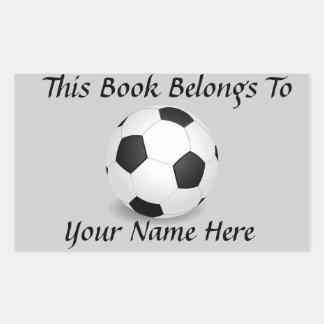 Balón de fútbol en la placa de identificación gris pegatina rectangular