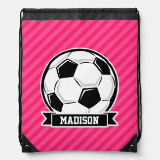 Balón de fútbol en las rayas rosadas de neón mochilas