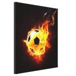 Balón de fútbol en llamas impresion en lona