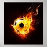 Balón de fútbol en llamas impresiones