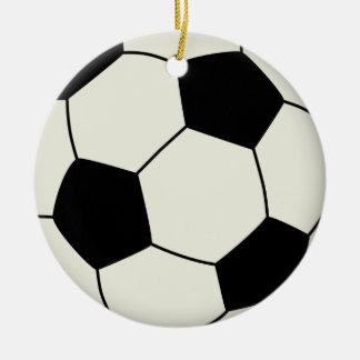 Balón de fútbol en negro adorno navideño redondo de cerámica