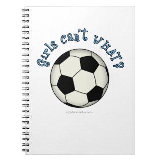 Balón de fútbol en negro libro de apuntes