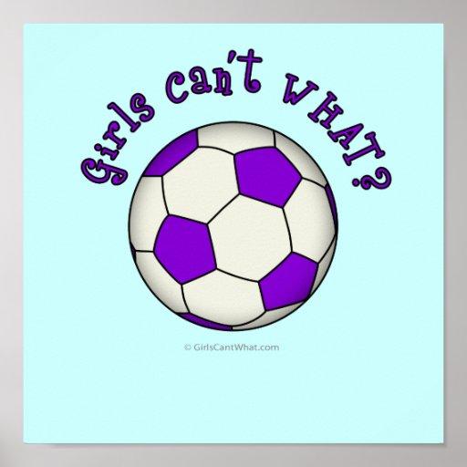 Balón de fútbol en púrpura impresiones