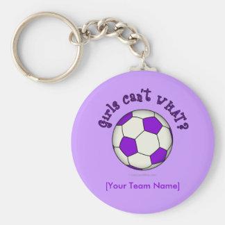Balón de fútbol en púrpura llavero redondo tipo pin