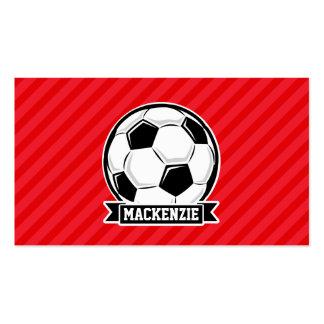 Balón de fútbol en rayas diagonales rojas tarjetas de visita